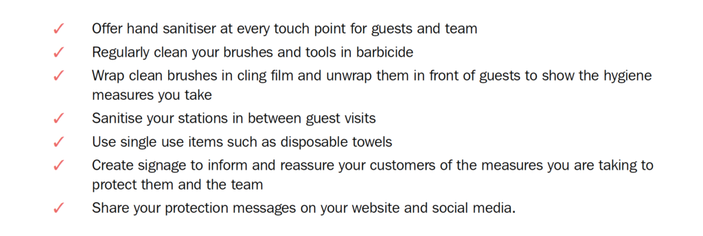 Simon's action checklist for when salons re-open 1