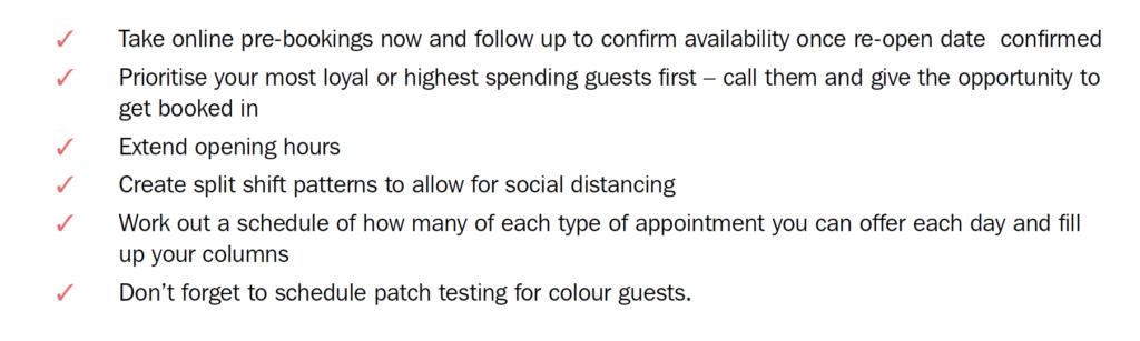 Simon's action checklist for when salons re-open 2