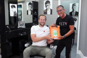 TONI&GUY Billericay salon receives automated external defibrillator on behalf of The Justin Edinburgh 3 Foundation